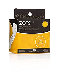 Therm O Web 37-86 Thermoweb Zots Clear Memory Adhesive Dots, 3-D, 1/2-Inch, 200-Pack (37-86)