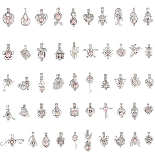 30 Pcs Mixed Oyster Pearl Bead Cages Pendant Findings for Jewelry Making Diffuser Cage Bracelet Necklace DIY-Halloween Gifts for Kids