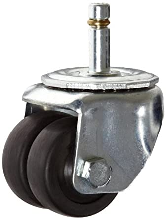 E.R. Wagner Stem Caster, Swivel, Dual Wheel, Hard Rubber Wheel