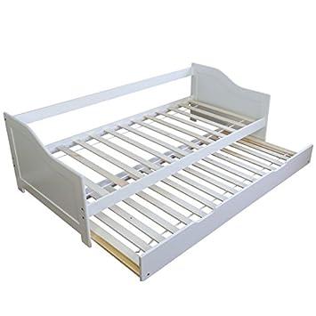 3b1d7063bc298 Décoshop26 Lit gigogne avec sommier à Lattes Banquette tiroir 90x200cm  Blanc LIT06074
