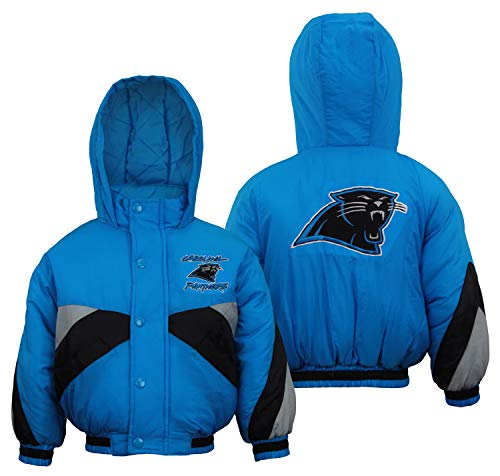 Mighty Mac Carolina Panthers NFL Little Boys Toddlers Full Zip Bomber Jacket Coat Hood, Blue Black Grey Stripes (3T)