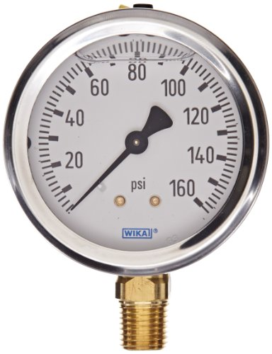 (WIKA Commercial Sprinkler Pressure Gauge, Dry-Filled, Copper Alloy Wetted Parts, 4