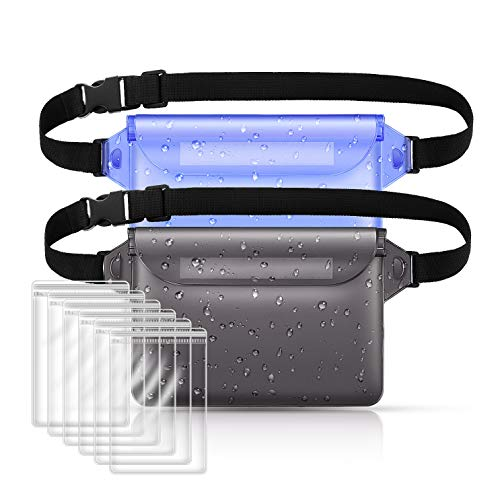 Swimming Waterproof Pouches with Adjustable Waist Strap,Dry Pouches Waterproof for Beach Fanny Packs for Boating Kayaking Snorkeling Fishing Water Parks, Dry Bags for Phone Wallet License Safe and Dry