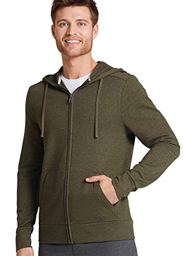 Jockey Men's T-Shirts French Terry Full Zip Hoodie, Olive Night Heather, L ()