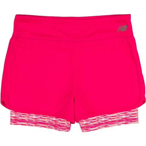 New Balance Big Girls' Layered Bike Shorts, Pomegranate, 10/12