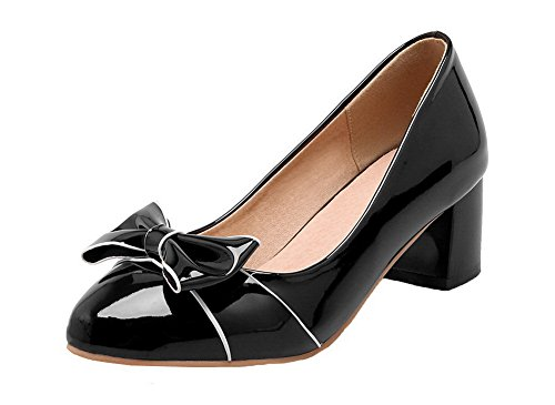 Black Kitten Pull Women's Shoes WeiPoot Solid Leather Pointed Toe Closed Patent Heels on Pumps FOxwRqI6x
