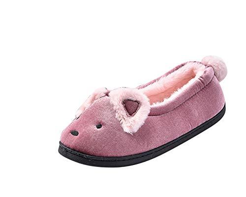 Chaussures Femme Slippers Peluche Pantoufles Accueil Doublure Mules Automne Intérieure Hiver Chaussons ZiXing Homme Pink Douce ZOAHC