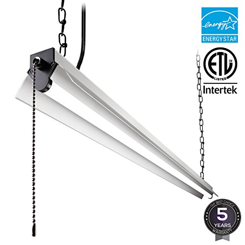 40w Led Shop Light Garage Light W Pull Chain: LeonLite 4ft LED Utility Shop Light With Pull Cord Switch