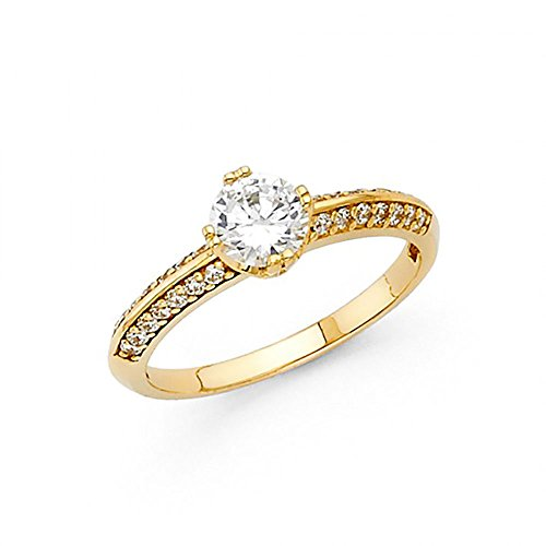 14k Yellow Gold CZ Knife Edge Pave Engagement (Pave Knife Edge)