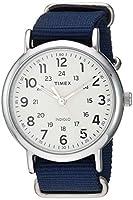 Timex Men's TW2T29200 Weekender 40 Blue/Cream Nylon Slip-Thru Strap Watch