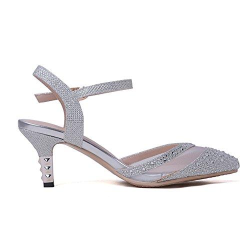 Bombas Tacón Shoes Diamante Plata Mujer Trabajo Silver Zapatos Hn Tacones De Fiesta Mid Oro Altos Bajo Vestido Boda 4Y6Yqwp
