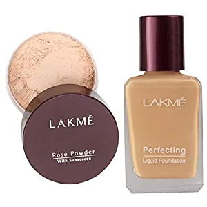 Lakme Rose Face Powder, Soft Pink, 40g And Lakme Perfecting Liquid Foundation, Pearl, 27ml