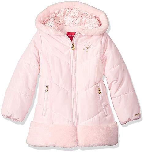 London Fog Girls' Toddler Shine Warm Winter Jacket, Pink Blossom, 2T