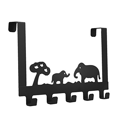 Baoyouni Over the Door 5 Hook Storage Rack Hanger, Elephant Decorative Heavy-duty Organizer for Coats, Hats, Robes, Towels 11.8'' x 8.07'' x 1.85'' (Black) by Baoyouni