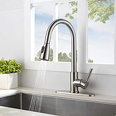 VESLA HOME Commercial High Arch Pull Down Sprayer Brushed Nickel Kitchen Sink Faucet, Swivel Single Lever Stainless Steel Kitchen Faucet With Deck Plate