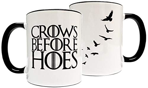 Crows before Hoes 11oz Grade A Quality Ceramic Mug/Cup - Inspired by Game of Thrones The Nights Watch - Foam ()