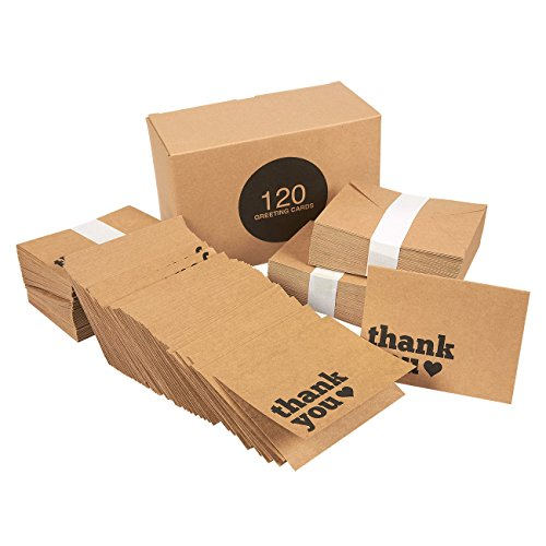 120 Pack Brown Kraft Paper Thank You Note Cards - Bulk Box Set - Blank on the Inside - Vintage Kraft Design - Includes 120 Brown Kraft Paper Envelopes
