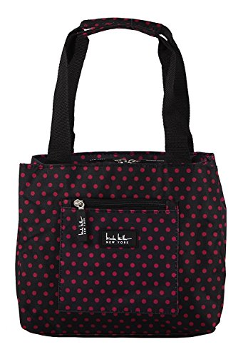 "Nicole Miller of New York Insulated Lunch Cooler-Black/Pink Polka Dots 11"" Lunch Tote"
