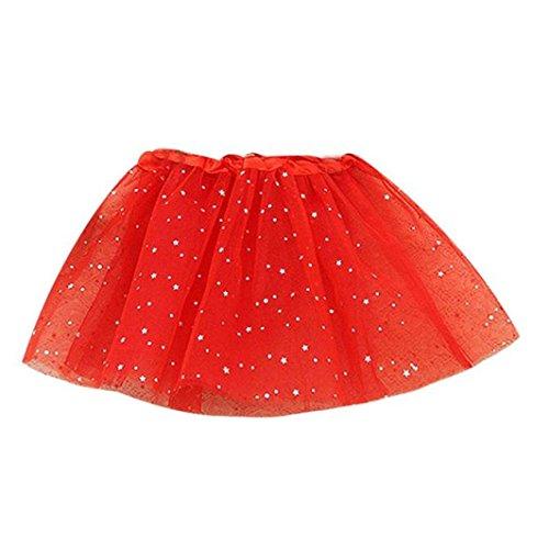 GBSELL Baby Kids Girls Princess Fairy Stars Sequins Party Dance Ballet Tutu Skirts Bubble Short Skirt (Red) Fairy Princess Short