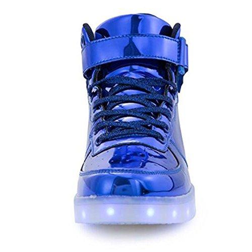 KUshopfast Kinder leuchten Schuhe Jungen und Mädchen High Top LED Energy Lights Turnschuhe (perfektes Geschenk für Kinder und Jugendliche) Lmblue