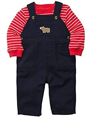 Carters Infant Boys 2 Piece Outfit Blue Bear Overalls & Striped Red Shirt