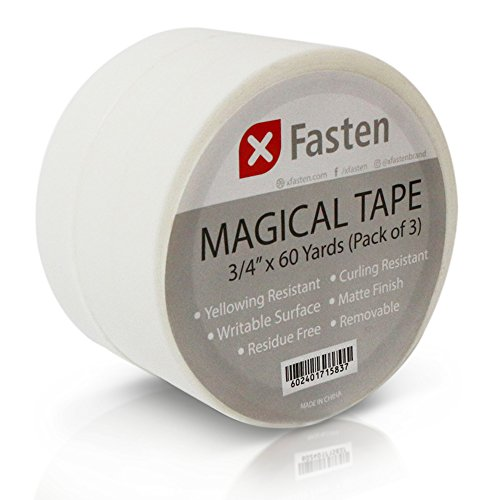 XFasten Magical Tape, 3/4-Inch x 60-Yard, Pack of 3, Frosted and Invisible on Paper (Dispenser not included)