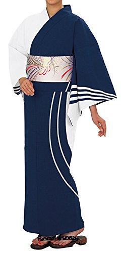 踊り衣裳 反物 大印 本絵羽ゆかた 白×紺 メンズ レディース