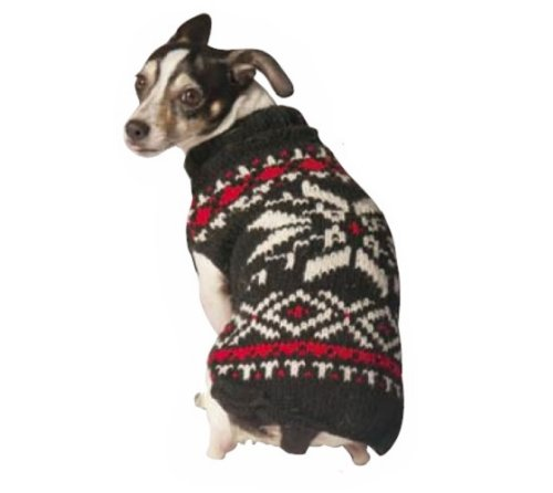 Snow Dog Sweater - Chilly Dog Snowflake Dog Sweater, Large, Back