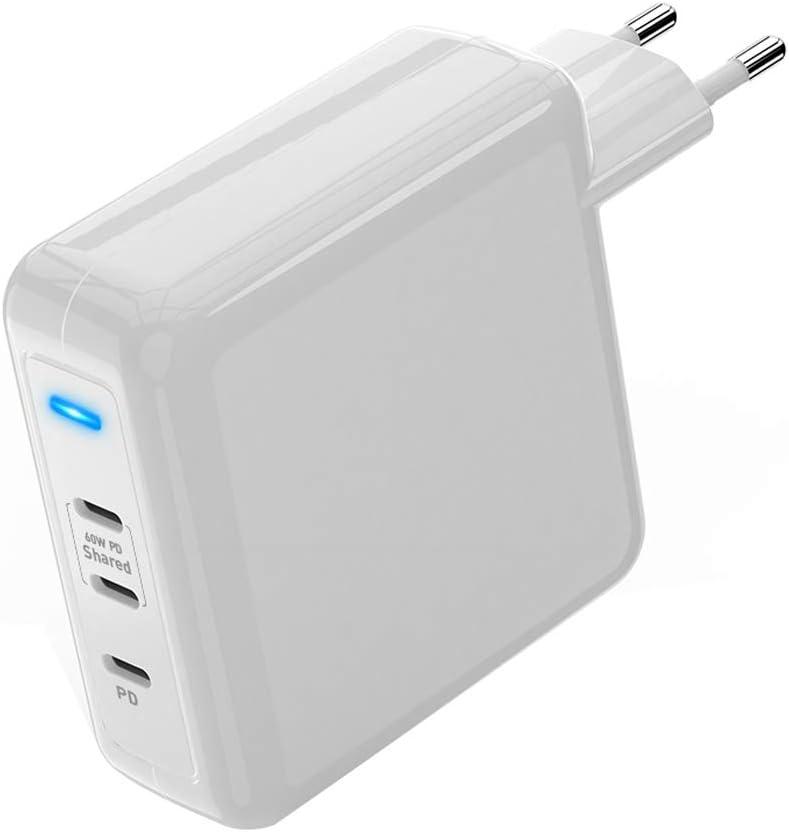 USB C Cargador pared, PD 78W Suministro energía carga rápida con adaptador plegable tres puertos USB C 60W y 18W para iPhone 11 / Pro / MacBook Pro / AirPods Pro / Google Pixel / Samsung Galaxy y más