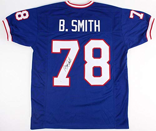 Signed Bills Smith Bruce (Bruce Smith Autographed Blue Buffalo Bills Jersey - Hand Signed By Bruce Smith and Certified Authentic by JSA - Includes Certificate of Authenticity)