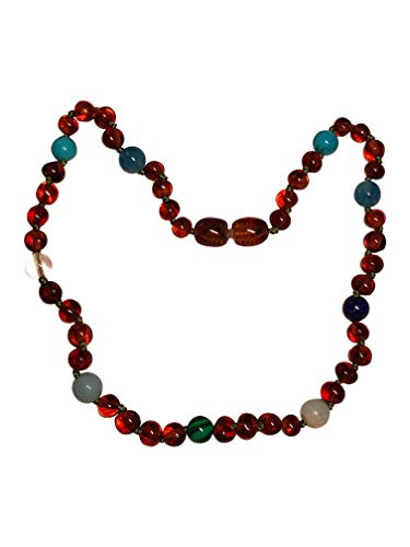 (Certified Baltic Amber and Gemstone Necklace by UMAI - Pain Relief from Teething - Unisex- Safely Knotted Beads (Polished Blue/Green))