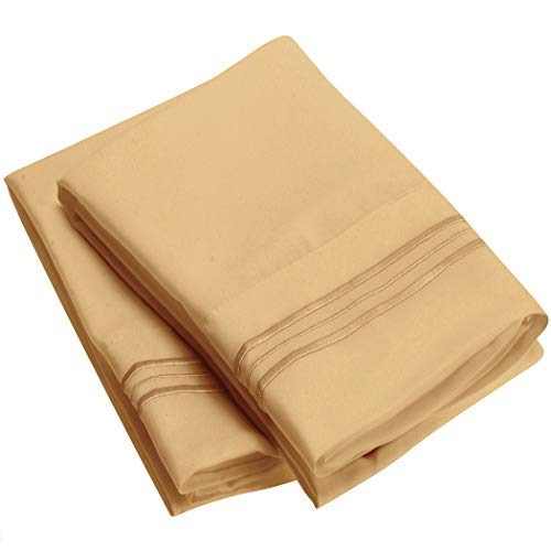 Price comparison product image Mellanni Luxury Pillowcase Set Brushed Microfiber 1800 Bedding - Wrinkle,  Fade,  Stain Resistant - Hypoallergenic (Set of 2 King Size,  Gold)