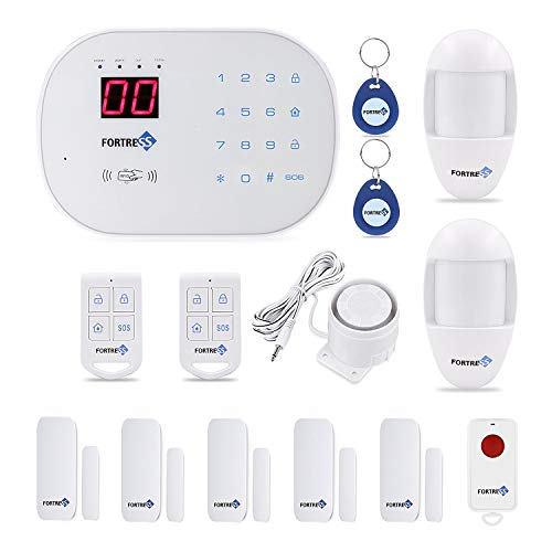 Fortress Security- Classic home security system with optional 24/7 professional monitoring - No contracts - Wireless 14 piece security kit - Compatible with Alexa - DIY home security (Best No Contract Alarm System)
