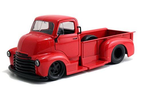 New 1:24 DISPLAY BIG TIME MUSCLE - CANDY RED 1952 CHEVROLET COE PICKUP TRUCK Diecast Model Car By Jada Toys
