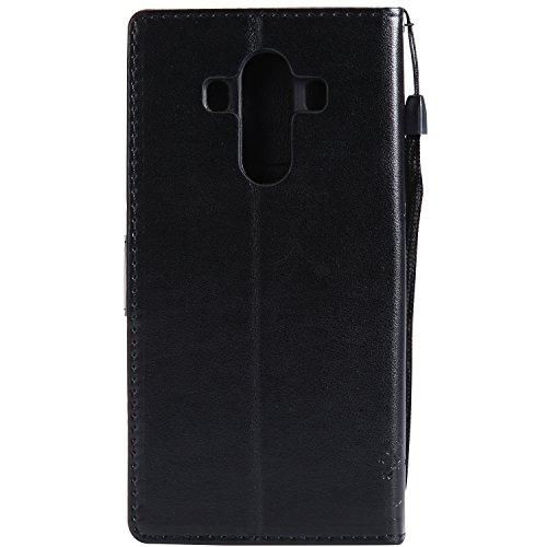 Funda Huawei Mate 10 Pro, SsHhUu Funda PU Piel Genuino [Ranuras para Tarjetas] [Cierre Magnetico] con Lápiz óptico + Acollador para Huawei Mate 10 Pro / L09 / L29 (6.0) Rose Negro