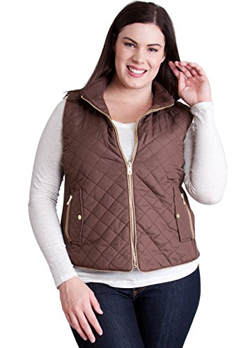 Quilted Effect (Woman Brown Plus Size Quilted Padded Ribbed Sides Zipper)