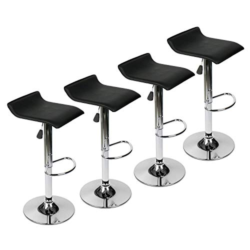 YOURLITEAMZ Modern Swivel Adjustable Home Barstools-Set of 4 for Kicthen Counter Backless Faux Leather Fabric Counter Height Airlift Home Bar Furniture Stools Chairs with ChromeBase (Set of 4 Black)