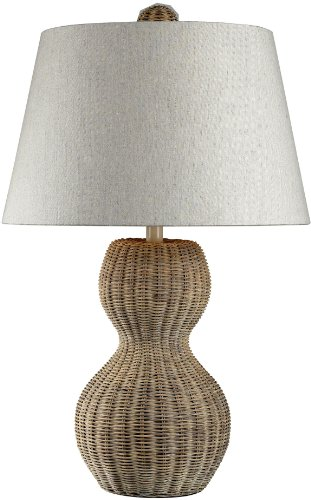 (Dimond Lighting 111-1088 Sycamore Hill 1-Light Transitional Table Lamp with Natural Linen Shade, Light Rattan Finish, 16