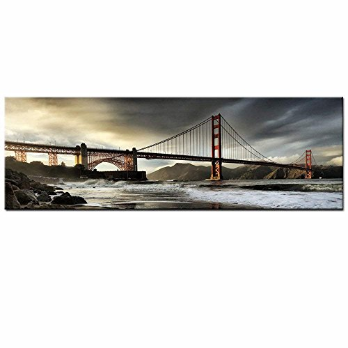 (Sea Charm - San Francisco Golden Gate Bridge Picture Stretched,Large Size Cityscape Painting on Canvas Print Modern Wall Decoration Canvas Wall Art(inner frame, 2.Golden Gate Bridge))