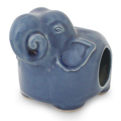 NOVICA Good Luck Celadon Ceramic Oil Warmer, Blue, Calm Blue Elephant' by NOVICA