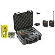 Sennheiser ew 100-ENG G3-A Wireless Mic System with EK 100 G3 Diversity Receiver, Frequency Band A - Bundle with 4x AA Rechargeable Batteries w/Charger, SKB iSeries Waterproof Sennheiser Mic Case