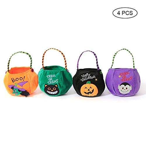 Pawaca Halloween Vintage Candy Treats Bags, Party Goodie Bags for Cookies, Dessert, Bakery, Witch Pattern Kid Snacks Bucket Box W/Handle,Present Gift Toys Grocery Package Bags for Child (4Pack Set)