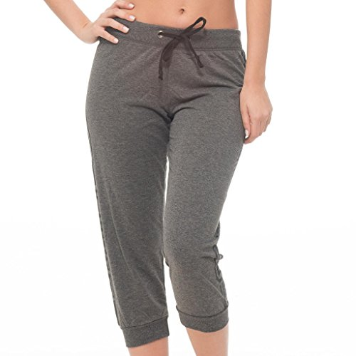Plus French Terry Pants ([E313XC-HC-3X] Coco-Limon Plus Size Capri Joggers, French Terry Love Print, Charcoal, 3X Plus)