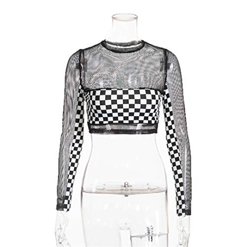 Checkerboard Plaid Mesh Transparent Black Long Sleeve Tshirt Women Sexy Crop Top Black L