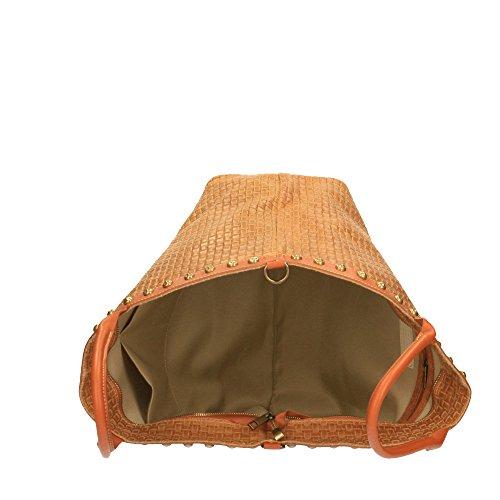 Cm à in cuir Chicca bandoulière bronzer 53x34x20 Sac en véritable main Italy tressé cuir imprimé en Borse avec Made Txdq7Fw