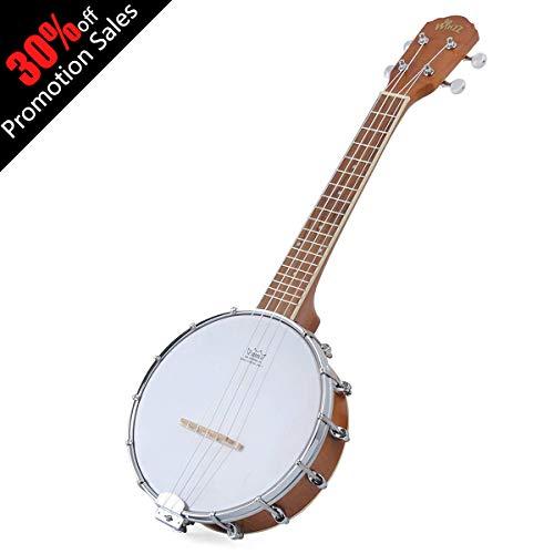 Banjo Uke Ukulele Banjolele WINZZ Okoume 24 Inches 4 Strings Natural Gloss with Padding Bag