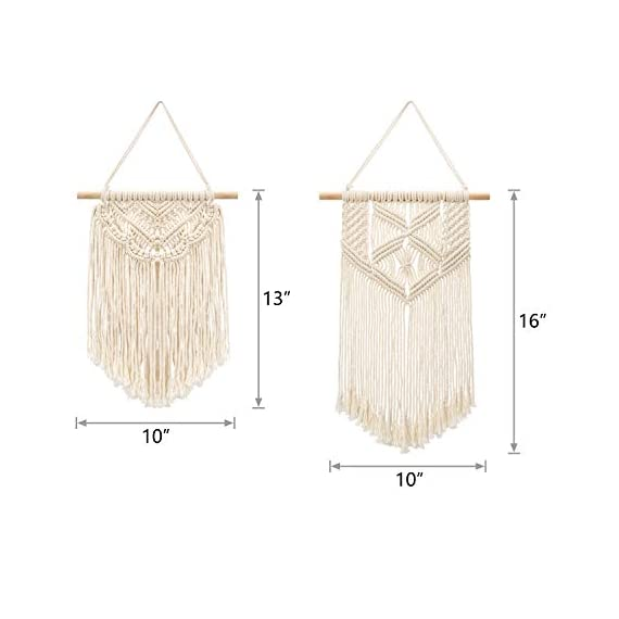 Mkono 2 Pcs Macrame Wall Hanging Art Woven Wall Decor Boho Chic Home Decoration for Apartment Bedroom Living Room… - This cute macrame wall hanging is created to fit in any space and budget. Beautiful wall art creates a sense of harmony and comfort for your room. It is great for a bedroom, dorm room, living area, baby nursery, workspace or anywhere where you'd like to bring some texture and interest to your walls. Mkono Macrame Wall Hanging is made of 100% Pure cotton cord, without artificial ingredients or chemicals. Sturdy, durable and premium quality. This cute and chunky macrame can make a big difference in any space. Its symmetrical design will fit in any interior. This woolen hanging makes a perfect statement piece for hanging over the head of a bed or baby crib, over a couch, fireplace mantel or desk, or near a window for adding a cozy touch to your living or work space. Great decoration for party, wedding, or as photo props. - living-room-decor, living-room, home-decor - 41qbHNATtVL. SS570  -