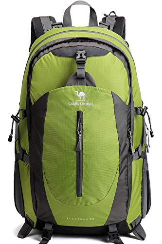 Camel 40L Lightweight Durable Waterproof Travel Hiking Backpack Daypack with Rain Cover for Outdoor Camping