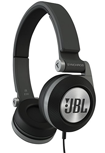 JBL E30 Black High-Performance On-Ear Wired Headphones with JBL Pure Bass and DJ-Pivot Ear Cup, Black