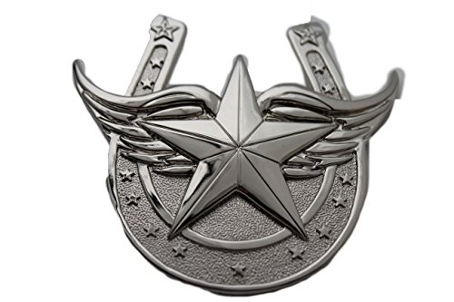 TFJ Men Belt Buckle Western Fashion Silver Texas State Lone Star Horseshoe Wings from Trendy Fashion Jewelry